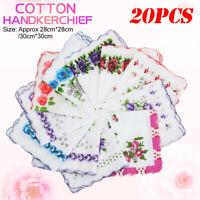 20x Vintage Floral Flowers Bird Handkerchief Cotton Square Hanky Ladies Women