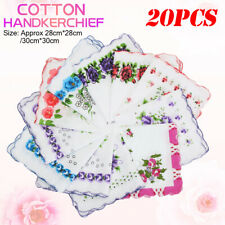 20x Vintage Floral Flowers Bird Handkerchief Cotton Square Hanky Ladies Women