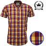 Relco Mens Oxblood Yellow Short Sleeve Check Shirt Mod Tartan Button Down Collar