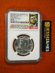 2014 D UNCIRCULATED SILVER KENNEDY HALF NGC SP70 FROM THE 50TH ANNIVERSARY SET