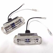 2x Oval Side Marker Repeater Lights Euro Chrome Diamond Cut Clear W/Socket Wires