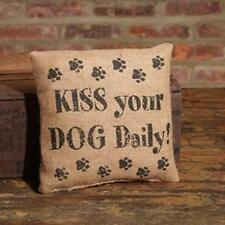 Country burlap small decor pillow / KISS YOUR DOG DAILY / nice