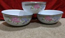 Lot (3) GMI Enamelware/Coated Metal Serving/Mixing Bowl Set-White/Pink Floral