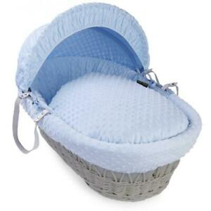 Isabella Alicia Designer Grey Wicker Moses Basket with Blue Dimple Dressing