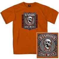 Sturgis 2016 Black Hills Motorcycle Rally Skull & Wings Orange T Shirt #1488