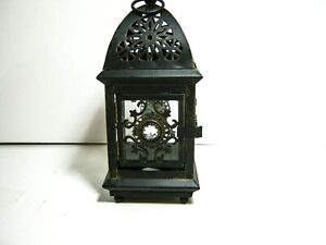 Distressed Finish Candle Holder Lantern w/ Crystal Accents  8 inch tall