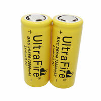 2PCS 26650 Battery 12800mAh 3.7V Li-ion Rechargeable Batterie for LED Flashlight