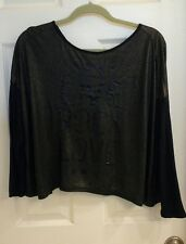 "Rampage, women's size XL, blouse, open back, gold black, ""Live Rock Love"
