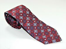 Men's SERICA Silk NECKTIE Tie MADE IN ITALY RED BLUE CIRCLES AND SQUARES