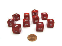 Pack of 10 D6 16mm Koplow Games Pearl Numbered Dice - Red