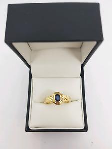 14ct yellow gold Sapphire and Diamond Ring