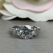 Stone Engagement Ring In 14k White Gold 2.14 Ct Brilliant Cut Round Moissanite 3