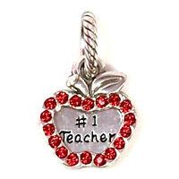 Brighton Teacher Charm, J93642 Silver Finish, Red Crystals, New