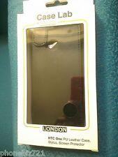 CASELAB HTC ONE M7 Folio Flip case - Black - Free Screen Protector And Stylus