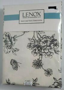 "LENOX Vinyl Tablecloth Rectangle 60"" X 84"" Floral Gray NEW Seats 6-8"