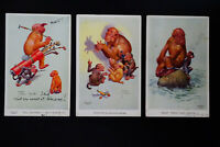 Great Britain Lot of 17 Early Action Monkey Multicolored Postcards