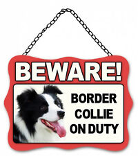 Dog Sign Plaque Beware Border Collie on Duty Metal 20x27cm
