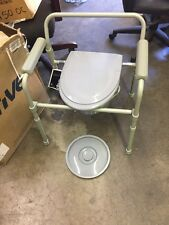 Folding Toilet Bedside Commode Seat Bucket Splash Guard Drive Medical 11148-1