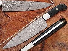 """EST Custom Handmade Damascus 12.5""""  Chef Kitchen Horn Knife NEW 002-H"""