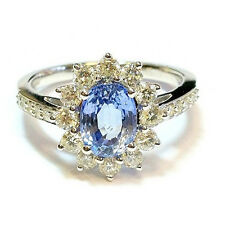18k White Gold 2.40 Carat Ceylon Sapphire And Diamond Cluster Ring