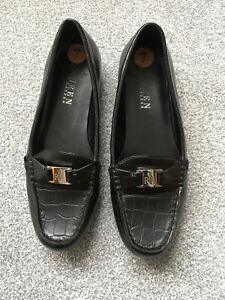 Ralph Lauren Black Leather Loafers UK 5 Comfort Flat Shoes  (A401)