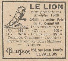 Y5833 Moto PEUGEOT Lion - Pubblicità d'epoca - 1930 Old advertising