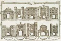 J. WOODING (um 1790), Die 10 Stadttore der London Wall, 1784, Kupferstich