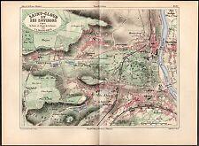 MALTE-BRUN 1890's Antique Map - Paris Suburb of Saint-Cloud, City Plan, FRANCE