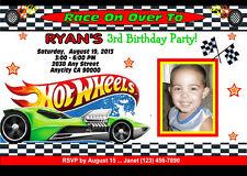 HOT WHEELS RACING CUSTOM PRINTABLE BIRTHDAY PARTY INVITATION & FREE TY CARD