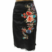 Stunning Karen Millen Black Embroidered Floral Oriental Style Fitted Skirt 10 UK