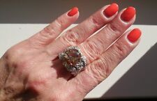 "NEW ""designer inspired"" Large Amber Topaz CZ Ring w.Pave Detail size 6"