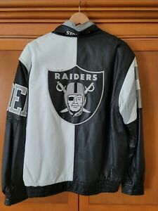 Vintage RAIDERS NFL 100%  Leather JACKET by Starter