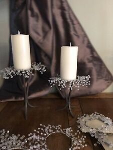 """Glass Crystal Gems Rings 3"""" Set Of 4 Pillar Candle Rings"""