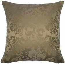 "FILLED JACQUARD FLORAL DAMASK BROWN 18"" 45CM CUSHION TO MATCH CURTAINS"