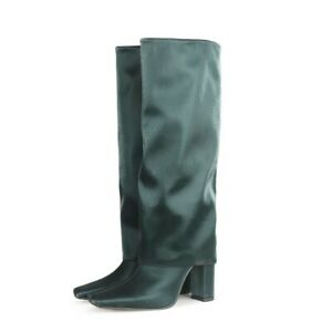 Womens Punk Square Toe Block Heels Knee High Knight Boots Party Shoes Plus Size