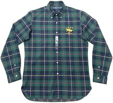 Ralph Lauren Men's Custom Fit Shirt in Green/Navy Check Size M