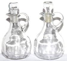 "Vintage Set Of Two 2 Clear Glass Oil & Vinegar Cruets 6 1/2"" Tall"