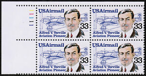 US USA Sc# C113 MNH FVF PLATE # BLOCK Alfred Verville Sperry R-3 Army Racer