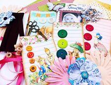 Scrapbook Lot - Handmade Peter Rabbit Button Cards, Paper, Flower, Ribbon, Bling