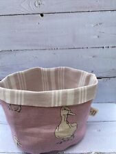 Milton And Manor Pink Duck Fabric Storage Basket With Susie Watson Lining - New
