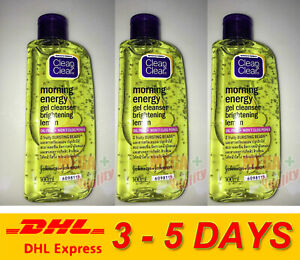 3 x Clean and Clear Gel Cleanser Facial Wash Oil Free Brightening Lemon 100ml.