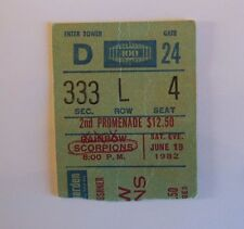 RAINBOW  SCORPIONS  Ritchie Blackmore's Rainbow TICKET     NEW YORK 1982