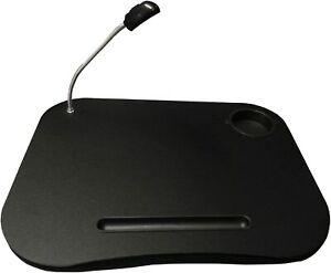 Black Cushion Laptop Portable Computer Table Led Lamp Homework Lap Tray Desk