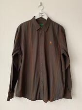 Men's Desigual Brown Coloured Striped Long Sleeve Shirt Size XXL
