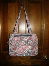 2847) Waverly Quilted Purse Paisley Print Red Black Blue Gray Zipper Top Straps