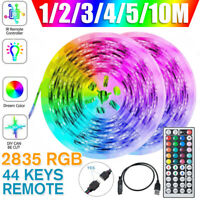 USB LED Strip Lights 5M 10M 2835 RGB Dimmable TV Back Lighting+Remote Control R