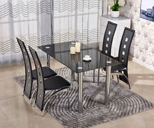 Vintage/Retro 4 Faux Leather Chairs and Tempered Glass Dining Table Set Black