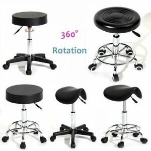 Round/Saddle Swivel Adjustable Salon Stool Massage Spa Lift Barber Chair
