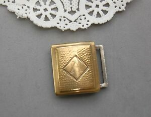 "Giant Grip Buckle Dirigold Patent Arts & Crafts Gold Tone Engraved ""A"" Initial"