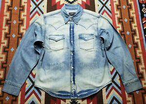RRL Ralph Lauren Double RL Distressed Denim Western Shirt
